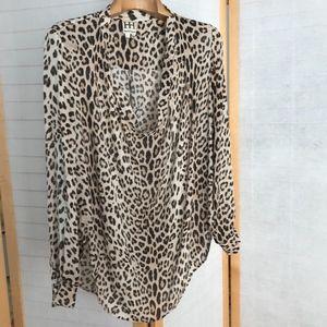 Haute Hippie leopard print scoop neck silk blouse